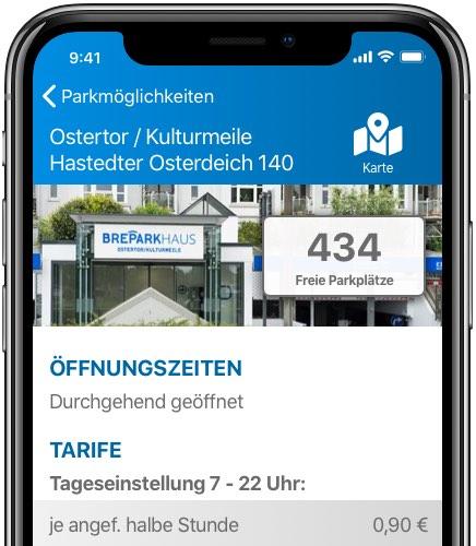 BrePark Parkhaus App – Screen 2 – Convelop Referenz