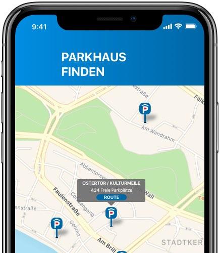 BrePark Parkhaus App – Screen 3 – Convelop Referenz